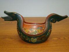 Very Old Norwegian Rosemaled Wood Kjenge or Ale Bowl | eBay by claudine