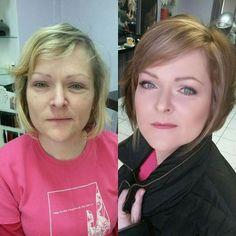A zase proměna . #mywork #makeover #promena #newimage #newhair #newyou #hair #hairtrend #haircut #bob #makeupartist #mua #stylist #liceni #licenie #makeup #vlasy #BeautybyKatty
