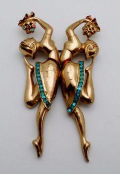 Vintage CORO CRAFT Sterling Silver Ladies Duette Brooch Pin