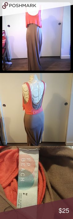Free People Beach maxi dress Authentic Free People Beach pink and taupe sleeveless maxi dress with layered top Free People Dresses Maxi