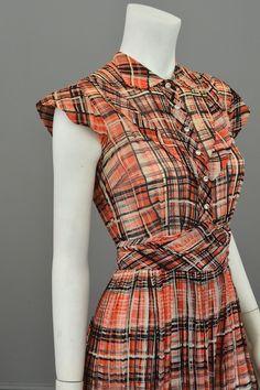 1930s Red Black Plaid Vintage Day Dress
