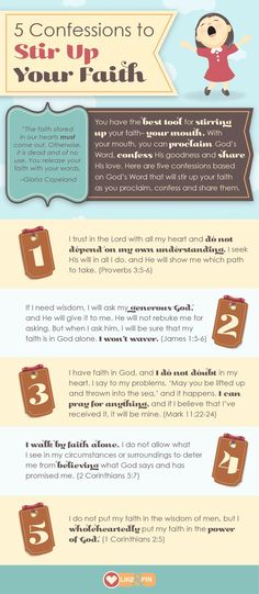 You have the best tool for stirring up your faith—your mouth. With your mouth, you can proclaim God's Word, confess His goodness and share His love. Here are five confessions based on God's Word that will stir up your faith as you proclaim, confess and share them. Share it, PIN IT!