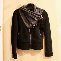 Free People Sweater/Scarf Jacket Free people sweater jacket with a faux scarf attachment - worn a few times and in great condition! Free People Jackets & Coats