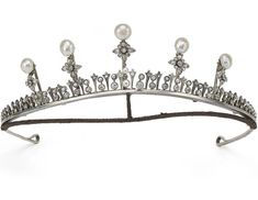 A petite diamond and button pearl tiara/necklace combination with five additional pinnacles with diamond flower-heads topped with larger button pearls