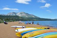 Beautiful Baldwin Beach and Ski Beach, just one of South Lake Tahoe beaches worth visiting this summer. South Lake Tahoe Beaches, Baldwin Beach, Lake Tahoe Vacation, Kayak Rentals, Reno Tahoe, Kayaking, Places To See, Vacation Ideas, Paddleboarding