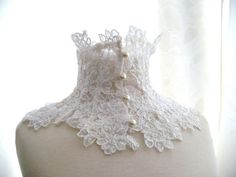 LACE NECK COLLAR , white ivory alencon lace macramè  lace victorian edwardian elegant with buttons, gift, romantic