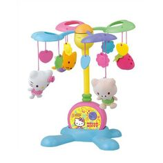 The soft, soothing music of this Hello Kitty Dreams Mobile helps your little one fall asleep for a peaceful night of rest. In the morning, it enthralls him or her with the magical movements of the fun and Hello Kitty dolls. The colorful pig, fox, Hello K Baby Cats, Baby Kitty, Baby Musical Mobile, Fuwa Fuwa, Baby Growth, Kawaii Cute, Sanrio, How To Fall Asleep, Your Child