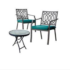 Patio 3-Piece Bistro Set Pool Furniture Metal Chair Blue #ThresholdHarper
