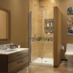 Features:  -AquaFold collection.  -Material: Tempered glass, aluminum and brass.  -Chrome hardware finish.  -Frameless glass design.  -Reversible for right or left door opening installation; Finished