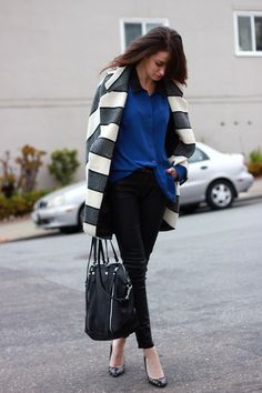 Rag & Bone Coat, Equipment Blouse  (I am dying over the striped coat - love) San-Fran style realness