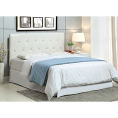 Amazon.com  or Walmart Furniture of America Furniture of America Wilmington Leatherette Tufted Headboard -, White, Leather / Wood, Twin -