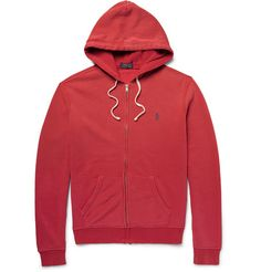 POLO RALPH LAUREN Fleece-Back Cotton-Blend Jersey Hoodie. #poloralphlauren #cloth #sweats