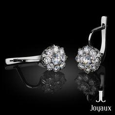 Sunflower Diamond Earrings in 18k White Gold (approx. 1,3 ct. tw.) Natural Gemstones, Diamond Earrings, Jewelry Making, White Gold, Jewellery Making, Make Jewelry, Diamond Drop Earrings, Diy Jewelry Making