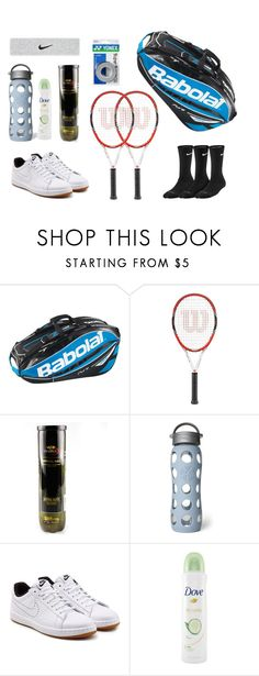 My tennis bag featuring NIKE, Dove, Lifefactory, Babolat and Wilson