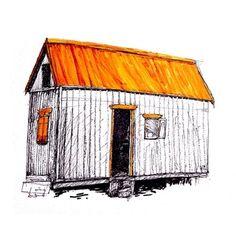 House, Pen, 12 in x 12 in, : Art