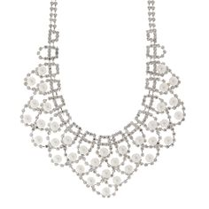 <UL><LI>Drop: 1 2/3''L<LI>Chain: 16''L<LI>Silver metal finish/Rhinestone/Pearl<LI>Lobster clasp closure</LI></UL>
