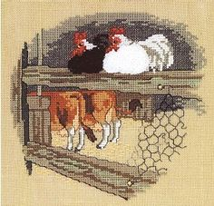 Chickens & Cows - Cross Stitch Kit - 123Stitch.com Cross Stitch Bird, Cross Stitch Animals, Cross Stitch Designs, Cross Stitching, Cross Stitch Embroidery, Cross Stitch Patterns, Chicken And Cow, Chicken Crafts, Needlepoint Canvases