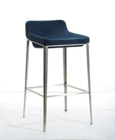 Modrest Adhil Modern Blue Fabric Bar Stool Product Texture :Leatherette Features : - Upholstered In Dark Blue Fabric - Footrest - Stainless Steel Legs - Polyester Fabric Dim Counter Stools With Backs, 30 Bar Stools, Kitchen Stools, Kitchen Island, Contemporary Bar, Lounge Seating, Home Decor Kitchen, Kitchen Ideas, Houses