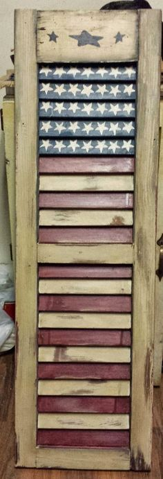 I'm thinking going to craft store to find this to paint o… Americana Shutter. I'm thinking going to craft store to find this to paint or perhaps the Goodwill. Patriotic Crafts, Patriotic Decorations, July Crafts, Christmas Decorations, Old Shutters, Wooden Shutters, Repurposed Shutters, Primitive Shutters, Navy Shutters