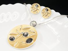 natural round shell gold enamel pendant silver plated chain necklace earring N71 #accessory9