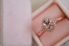 Sierra is a gorgeous vintage setting that perfectly accents an oval   morganite stone. This ring makes for a unique engagement ring alternative   or it can be worn as an everyday wear accessory.    Details    Metal: 14K Rose Gold (yellow and white gold available upon request)    Center Stone: 5X7mm