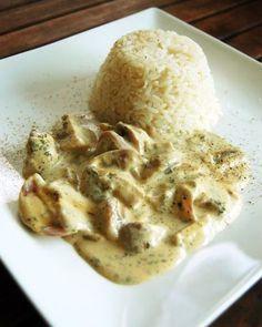 Reisgerichte   Champignon-Frischkäsepfanne mit Reis