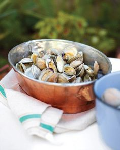 Grilled Clams - Martha Stewart Recipes ingredients: 60 littleneck clams (scrubbed well) Directions Heat grill to medium-high. Place clams directly on grill grates. Close lid, and cook until clams open, 5 to 6 minutes. Discard any unopened clams. Healthy Grilling Recipes, Fish Recipes, Seafood Recipes, Dog Food Recipes, Cooking Recipes, Grill Recipes, Healthy Food, Cooking Fish, Ham Recipes