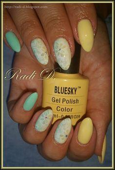 Bluesky gel polish 566, A47 http://radi-d.blogspot.com/2015/06/pastel-yellow-mint-with-lace.html
