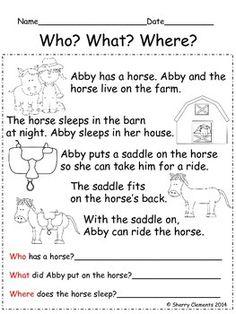 READING COMPREHENSION: WHO? WHAT? WHERE? - TeachersPayTeachers.com