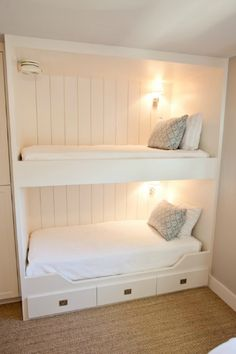 Suzie: Munger Interiors - Fun boys' bedroom with twin built-in bunk beds, white drawers, jute ...