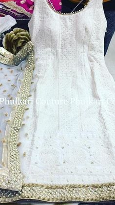 White and gold White Punjabi Suits, Indian Suits, Indian Attire, Indian Dresses, Indian Wear, Punjabi Fashion, Indian Bridal Fashion, Bollywood Fashion, Anarkali