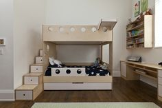 trundle bed, extra long steps, with platform to climb on to, safety wall for young kid