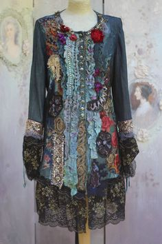 Empress jacket -long, ornate, baroque influenced, bohemian romantic ,altered couture, embroidered and beaded details,old laces by FleursBoheme on Etsy https://www.etsy.com/listing/478559621/empress-jacket-long-ornate-baroque