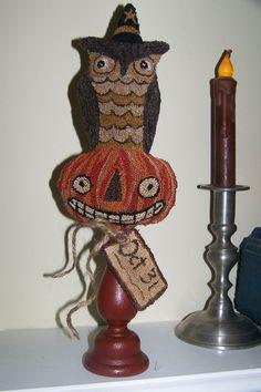 Folk art Punch Needle Owl on Pumpkin Halloween Primitive