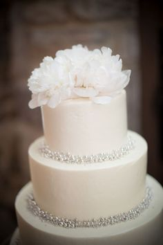A pure white wedding cake is so simple and elegant.  Perhaps with a more ivory or gold-tinted candy pearl.