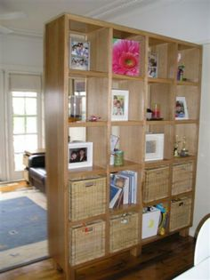 """Love the bookcase-as-room-divider idea! Could even use with two small ones back to back and the top could be """"common ground""""... Or be the base of a hanging mobile!"""
