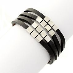 Stainless Steel and Black Leather Four (4) Strand Square Beaded Wrap Bracelet * Visit the image link more details.