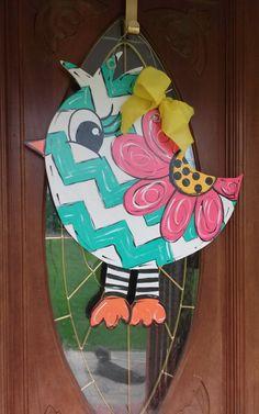 summer door hanger birdie. by DoorHangersbyNana on Etsy