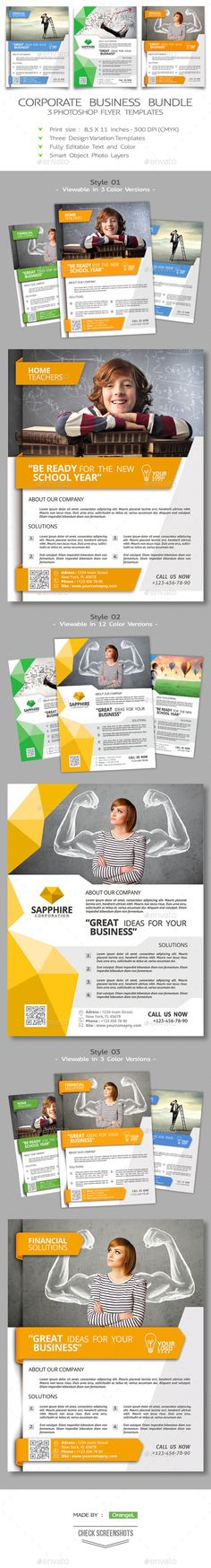 Corporate Flyer Bundle Template PSD | Buy and Download: http://graphicriver.net/item/corporate-flyer-bundle/8926814?WT.ac=category_thumb&WT.z_author=OrANGEL&ref=ksioks