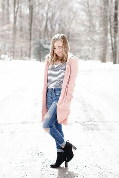Winter To Spring Transition Outfit   Pink Cardigan   #springlayers