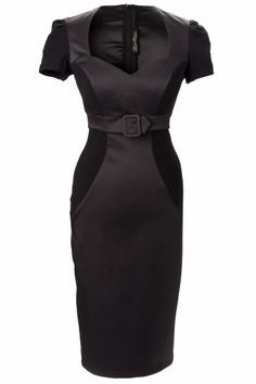 Pinup Couture - Pris Dress in Black Knit and Satin from Laura Byrnes Black Label