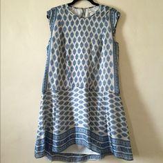 Madewell silk drop waist dress. White, blue and floral print. Never been worn. Madewell Dresses Mini
