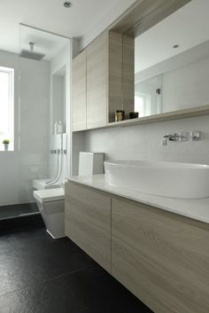 Shallow over toilet cabinet adjacent to mirror and shelf Small Toilet Room, Bathroom Tub Shower, Bathroom Interior, Bathroom Decor, Small Bathroom Remodel, Bathroom Design Luxury, Bathroom Furniture Modern, Bathroom Interior Design, Toilet Design