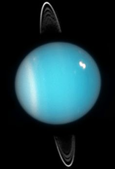 Uranus in 2005. Rings, southern collar and a bright cloud in the northern hemisphere are visible (HST ACS image).