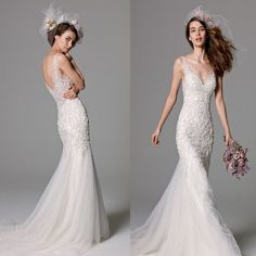 Gorgeous V-neck Lace Top Sexy Mermaid White Tulle Wedding Party Dresses, WD0134
