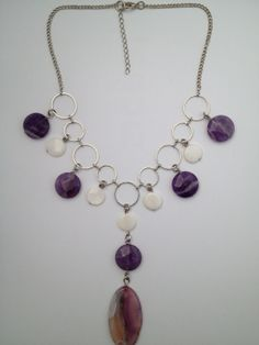 Chunky Amethyst, Mother of pearl and Agate statement necklace - Michela Rae