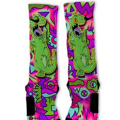 Reptar Fast Shipping Nike Elite Socks Customized by FreshElites Nike Elite Socks, Nike Socks, Reptar Rugrats, Small Boy, Hourglass Figure, Cool Socks, Rubber Rain Boots, Pairs, Trending Outfits