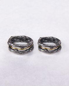Twig wedding ring set/ Gold & Silver / Black / Unique handmade