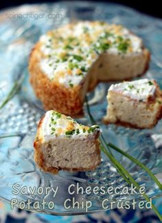 Savory Chive Cheesecake with Potato Chips Crust...this had me at potato chip crust...gotta try!