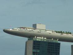 Looks like a Cruise ship. Sky Park atop Marina Bay Sands, Singapore